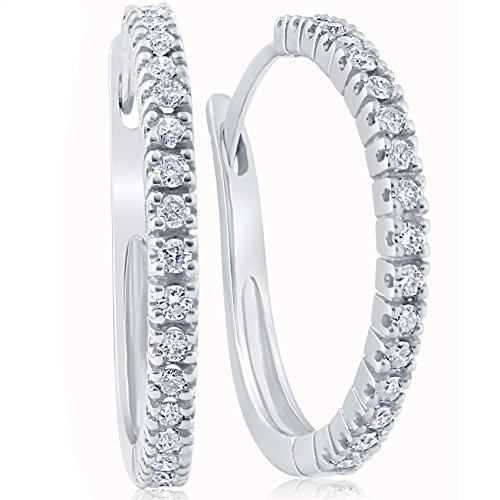 1/2ct Diamond Hoops 10K White Gold by Pompeii3