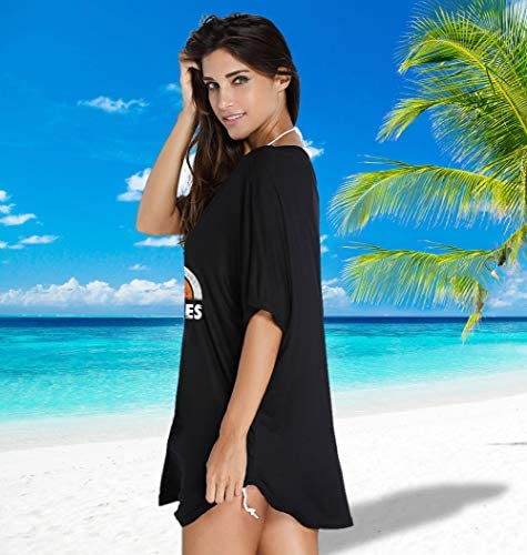 Oryer Womens Swimsuit Cover up Letters Print Baggy Swimwear Blouse Beach Dress T-Shirt