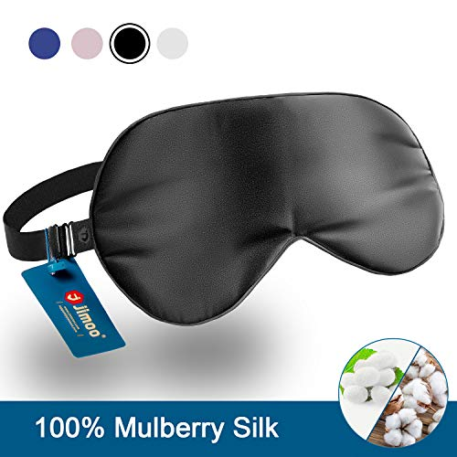 Natural Silk Sleep Mask, Super-Smooth & Soft Eye Mask with Adjustable Strap, Blindfold, Perfect Blocks Light, Pressure Free for A Full Night