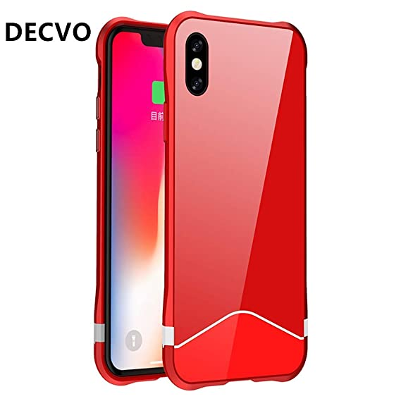 d0d97f3fd DECVO iPhone X Case Magnetic Adsorption Metal Bumper Protective Case Back  Back Built-in Magnet