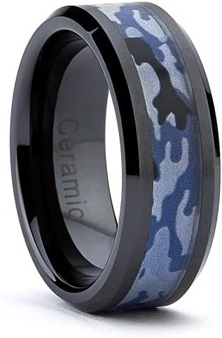 8MM Black Ceramic Military Black Blue Camouflage Band Army, Navy, Air Force, Marines Ring Sizes 7 to 15