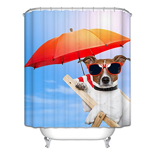 Messagee Cool Dog Animal Theme New Style Modern Art Fabric Waterproof Shower Curtain with 12 Hooks