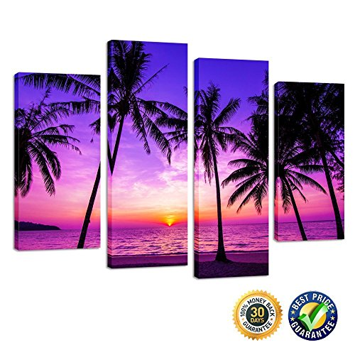 Palm Tree Photo (Kreative Arts - 4 Panel Tropical Palm Trees Purple Sunset on Ocean Beach Nature Wall Art Print Picture on Canvas Framed Artwork Ready to Hang)
