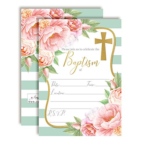 Watercolor Floral Peony Baptism Invitations, 20 5