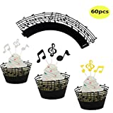 LQQDD Music Notes Cupcake Topper Music Notes Cupcake Wrappers Lace Muffin Case Cupcake Paper Cup Liner,Music Notes Decorations Party Supplies Birthday Cake Decorating Tools Baby Showers Party