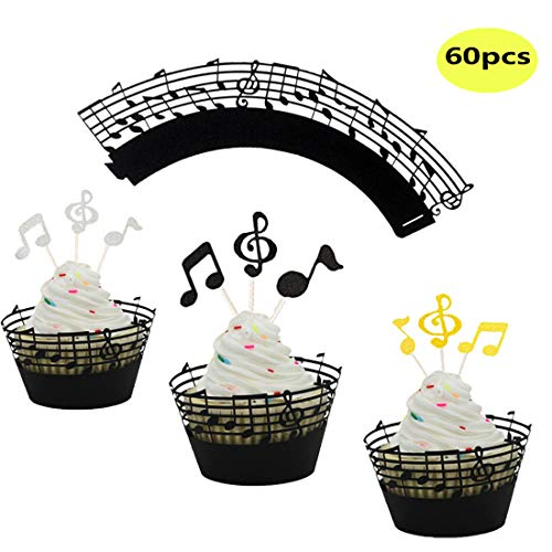Price comparison product image LQQDD Music Notes Cupcake Topper Music Notes Cupcake Wrappers Lace Muffin Case Cupcake Paper Cup Liner, Music Notes Decorations Party Supplies Birthday Cake Decorating Tools Baby Showers Party