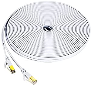 Cat7 Ethernet Cable, 50 FT High Speed 10 Gigabit Shielded Flat Network Wire with Gold-Plated RJ45 Connectors and Cord Clips for Computer Switch, Hub, PC, IP Cameras, Modem, Router - Black