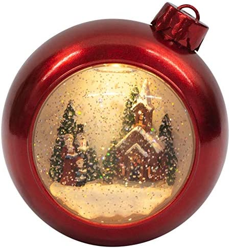 Victorian Church and Carolers 7 Inch Acrylic Glitter Snow Globe Ornament