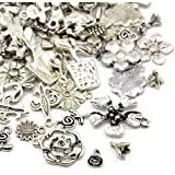 30 Grams Antique Silver Tibetan Random Shapes & Sizes Charms (FLOWER) - (HA07045) - Charming Beads