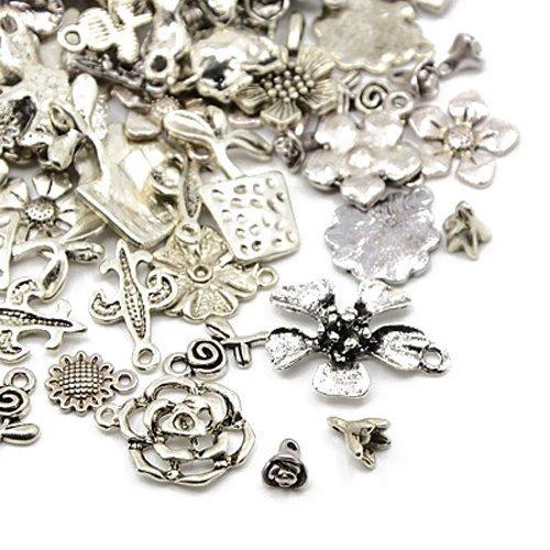 30 Grams Antique Silver Tibetan Random Shapes & Sizes Charms (FLOWER) - (HA07045) - Charming Beads Something Crafty Ltd