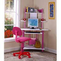 Kings Brand Pink Finish Corner Workstation Kids Children's Computer Desk