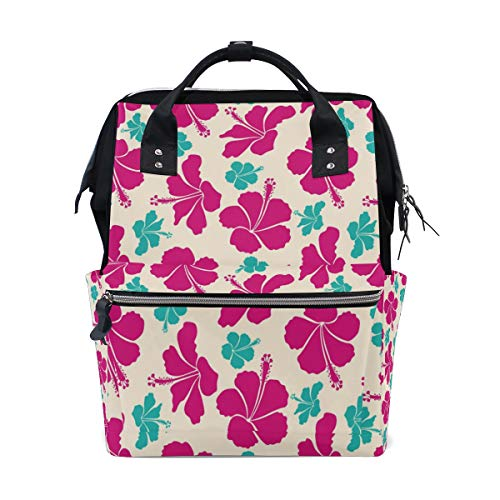 Baby Diaper Nappy Bag Travel Backpack Mommy Bag Magenta Hibiscus for Mom Dad M by Top Carpenter