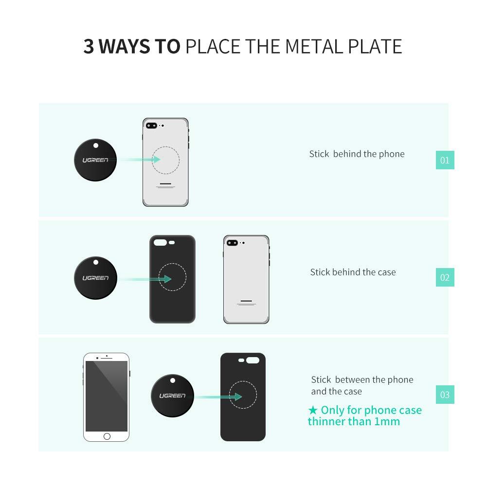 UGREEN Láminas Metálicas Reemplazo de Placa Metal para Soporte Movil Coche Magnético de Repuesto para Montar en Auto, Parabrisas y Ventilación con 3M ...