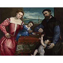 Polyster Canvas ,the Reproductions Art Decorative Canvas Prints Of Oil Painting 'Lorenzo Lotto Portrait Of Giovanni Della Volta With His Wife And Children ', 16 X 21 Inch / 41 X 53 Cm Is Best For Basement Decoration And Home Gallery Art And Gifts