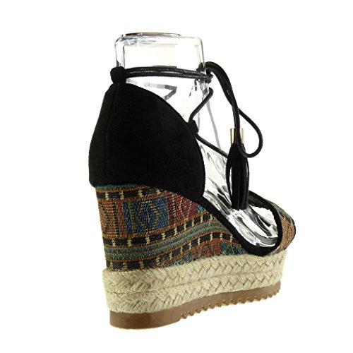 9 Ricamato Corda Cm Piattaforma Sandali Moda Con Aperta Frange Nero Donna Ciabatte Angkorly Scarpe Zeppa w7pHBgnf