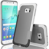 Galaxy S6 Edge Case, TILL(TM) Ultra Slim 3 Color Hybrid Impact Anti-slip Shockproof Soft TPU Hard PC Bumper Extra Front Raised Lip Case Cover for Samsung Galaxy S6 Edge S VI Edge G925 [Light Gray]