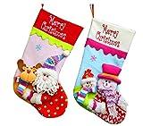 YAMUDA 2 Pcs Set Classic Christmas Stockings Children Christmas Stockings (Pink/Blue) Christmas Decoration