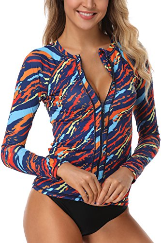 AXESEA Women Long Sleeve Rashguard UPF 50+ UV Sun Protection Zip Front Swimsuit Shirt Printed Surfing Shirt Top,Orange,US 6