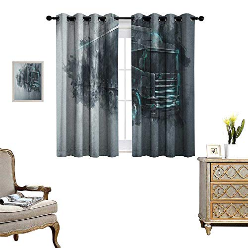 Warm Family Truck Room Darkening Wide Curtains Greyscale Illustration of a Tractor Trailer with Paint Smears Cargo Delivery Decor Curtains by W55 x L45 Grey Turquoise