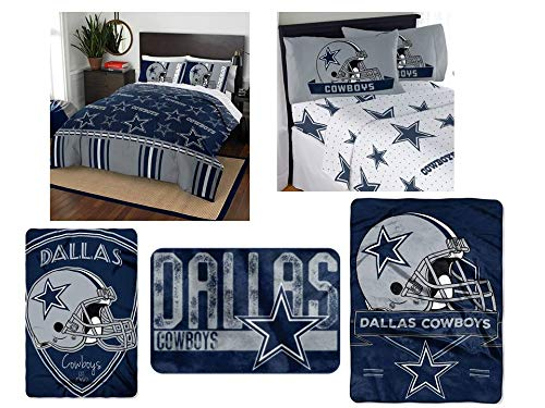 The Northwest Company NFL Dallas Cowboys Ultimate 12 pc Queen Bedding Set - Includes 1 Comforter, 2 Flat Sheets, 2 Fitted Sheets, 4 Standard-Size Pillowcases, 1 Blanket, 1 Throw, and 1 Rug