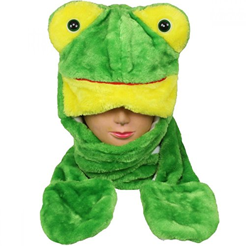 [Frog_(US Seller)New Plush Cartoon Hat Long Warm Full Hoodie Hat] (Best 80s Character Costumes)