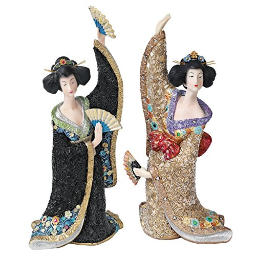 Design Toscano Odoriko Geisha Asian Bachiko and Aiko Statue Collection, Multi Colored