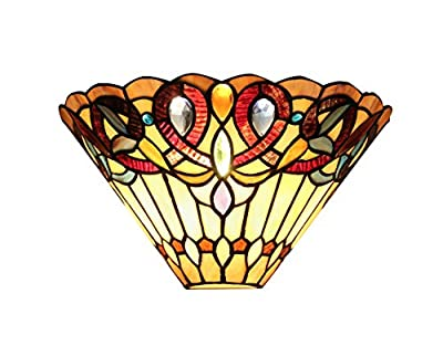 Chloe Lighting CH33318VI12-WS1 Ambrose Tiffany-Style Mission 1-Light Wall Sconce with 12-Inch Width