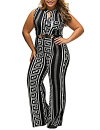 WoldGirls Women's Plus Size Loose Long Wide Leg Print Jumpsuits Romper Pants