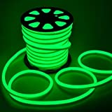 Flex LED Neon Tube Rope Light Green 150Ft 110V Cuttable w/ Power Cord Connectors Waterproof Silicone Gel for Indoor Outdoor DIY Holiday Decorative X-Mas Lighting