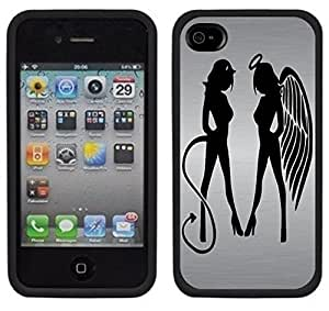 Angel Devil Girls Tattoo Handmade iPhone 4 4S Black Case