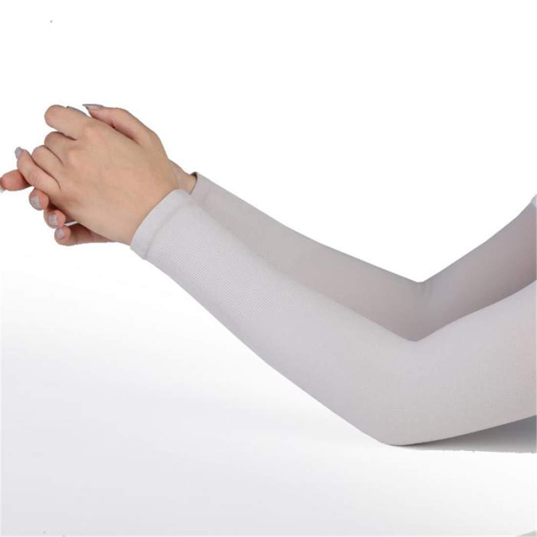 1 Pair Men Women Arm Sleeves Summer Sun UV Protection Arm Cover White