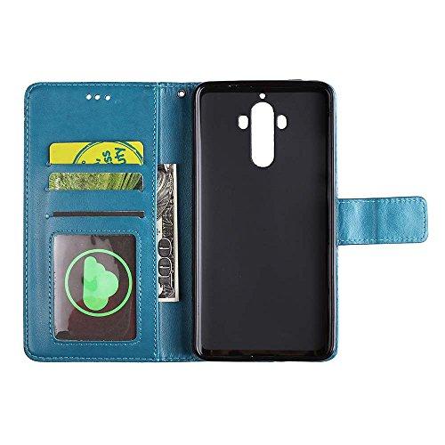 Est Avec 9 Retro Pour Huawei Pu Mate cartes De 9 Étui Housse Or Porte eu Protection Mandala Estampée Rose En Portefeuille Bleu Cuir Fleur OSwwEdq