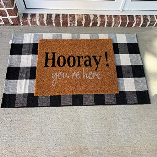 Winwinplus Buffalo Plaid Doormat, Cotton Hand Woven, Indoor/Outdoor Rug, Black and White Checkers Rug 2' x 4.3'