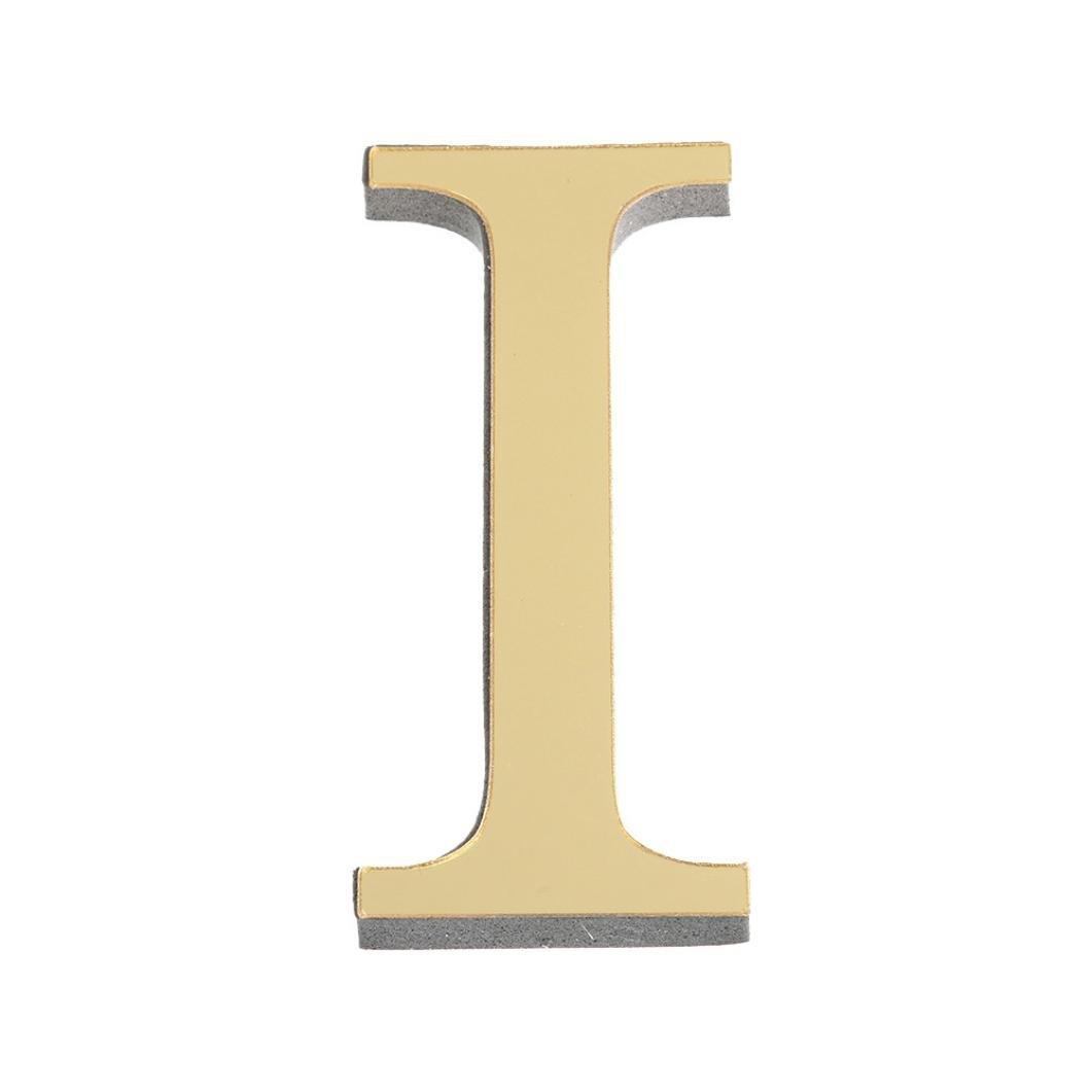 N Jaminy 26 Buchstaben DIY 3D Spiegel Acryl Wandaufkleber Decals Home Wanddekoration Kunst Wandmalerei Gold