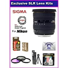 Sigma 10-20mm f/4-5.6 EX DC HSM Lens for The Nikon D40, D40x, D60, D3000 & D5000 Includes PRO HD 3PC Filter Kit + 7 Year Lens Warranty & Extended Life EN-EL9 Battery Pack 2000MAH + More