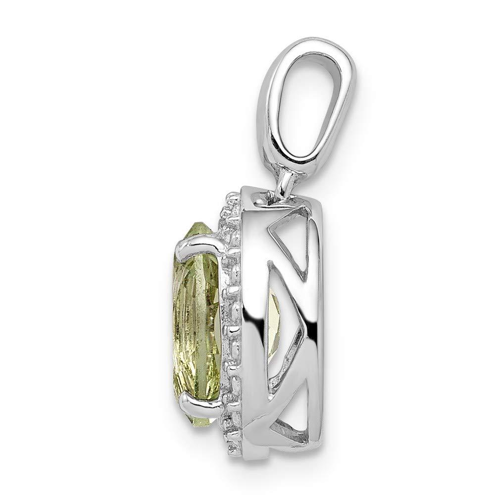 FB Jewels Solid 925 Sterling Silver Rhodium-Plated Green Quartz Oval Pendant