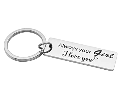 af3e55714a Kingmaruo Boyfriend Gift Mens Keychain Stainless Steel Dog Tag Keyring  Husband Gift for Him (Always