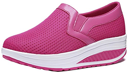 Platform Sneakers Women Mesh, Wedges Mid-Heel Casual Work Loafer Shoes 4 Colors Size 5-9.5 Rose Red