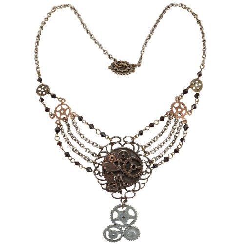 [Elope Women's Steampunk Gear Chain Antique Necklace Adult] (Steampunk Accessories For Women)