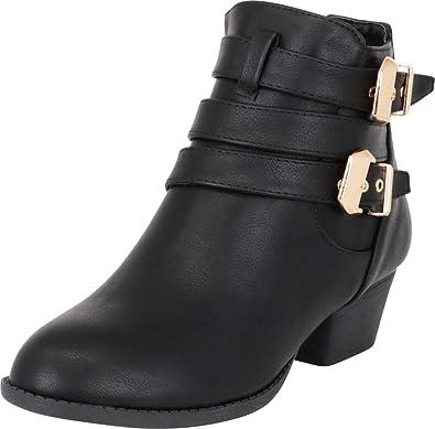 Top Moda Women s Buckle Straps Stacked Low Heel Ankle Booties Black 5.5 b13402fe5