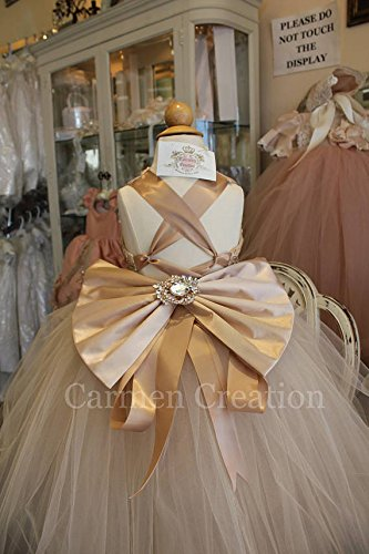 Champagne/Gold Flower Girl Dress by Carmen Creation