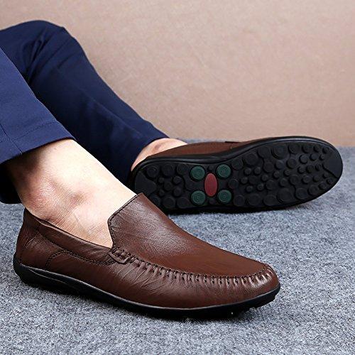 Insun Mens Lederen Slip Op Loafers Bootschoenen Rijden Bruin