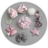 Fashion Boutique 10pcs Baby Hair Clips for Fine Hair No Slip 0-6 Edges Hair Barrettes Bow Hair Accessories for Baby Infant Toddlers Girl Birthday Christmas Gift (Grey+Pink)