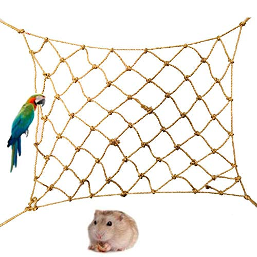 TEEPAO Bird Swing, Hemp Rope Parrot Perch Climbing Net Chew Rope Cage Toys Hang Hammock with Hooks for Canary Macaw…