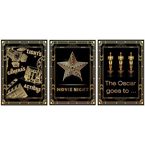 Musykrafties Hollywood Movie Night Party Poster Photo Booth Props Sign 16x12'' A3 3 Pack