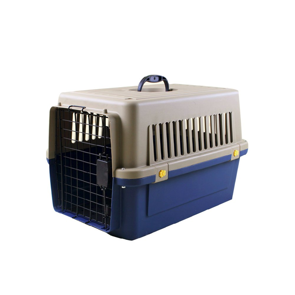 Luxurious Thicken Top-Load Pet Kennel Dogs Carrier Crate with Door Lock & Lockable Universal Wheels Portable Airline Approved Deep Blue - up to 22 lbs 503432cm