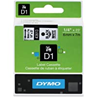 Genuine DYMO 1/4 (6mm) Black on White D1 Label Tape for Electronic Dymo LabelManager 160 Label Maker