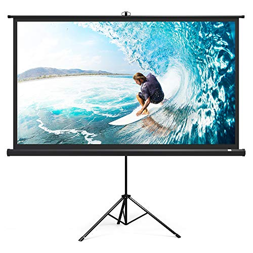 Projector Screen with Stand, TaoTronics Indoor Outdoor Projection Screen 4K HD 100 Inch 16:9 Premium Wrinkle-Free Design (Easy to Clean, 1.1 Gain, 160° Viewing Angle & Includes a Carry Bag) ()