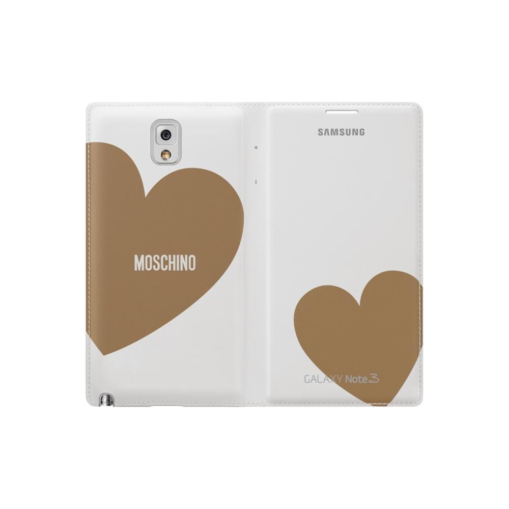 Samsung Moschino Designed Flip Wallet Case For Galaxy Note 3 White Gold Electronics
