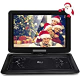 Upgraded DR. J Professional 14.1 inch 7 Hours Portable DVD Player with Build-in Rechargeable Battery, 270°Swivel Screen, 5.9 ft Car Charger and SD Card Slot, USB Port, Region Free-Black